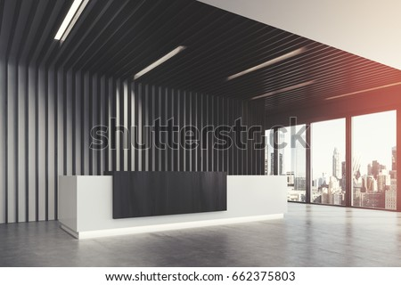 office lobby interior design. Side View Of A White And Black Reception Counter Is Standing In Office Lobby Interior Design