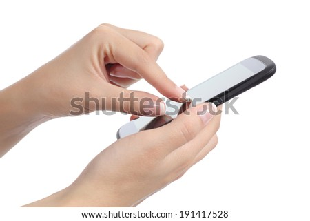 Side view of a woman hand with fingers on multi touch screen isolated on a white background - stock photo