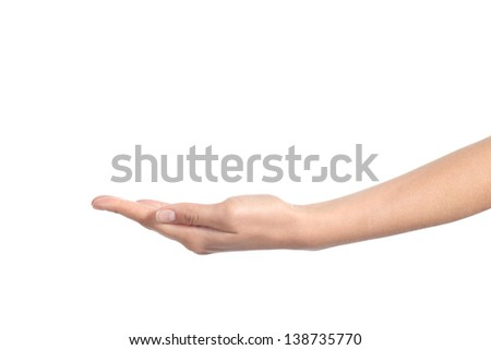 Side view of a woman hand with palm up isolated on a white background - stock photo