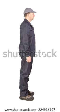 Side view of a worker. Isolated on a white background.