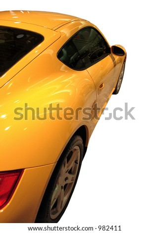 Side View Of A Yellow Sports Car Isolated Over White - stock photo