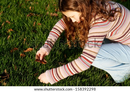 Side view of a young child girl crouching and collecting autumn dry leaves from the green grass ground in a park during a sunny and warm fall day, outdoors. - stock photo