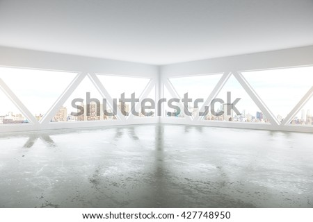 Side view of abstract interior with patterned windows, concrete floor and city view. 3D Rendering