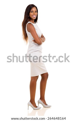 side view of african american woman with arms crossed isolated on white - stock photo