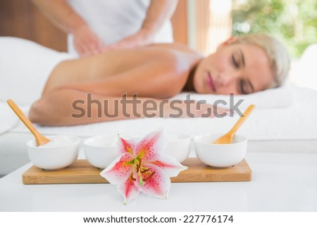 Side view of an attractive young woman receiving back massage at spa center - stock photo