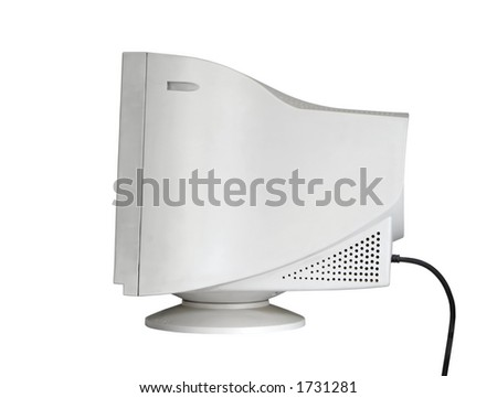 Side view of an isolated monitor (w clipping path) - stock photo