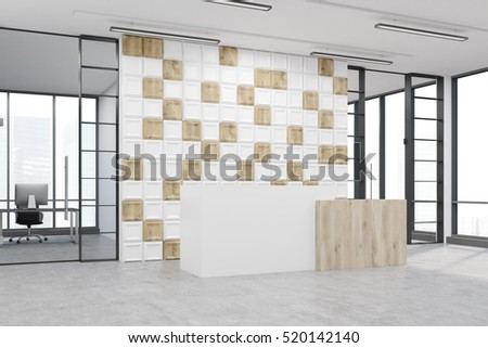 Side view of an office lobby. Large wall is decorated with white and wooden tiles. There is a wooden part of it and two conference rooms by both sides. 3d rendering. Mock up