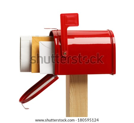 Side View of an Open Red Mailbox With Mail Isolated on White Background. - stock photo