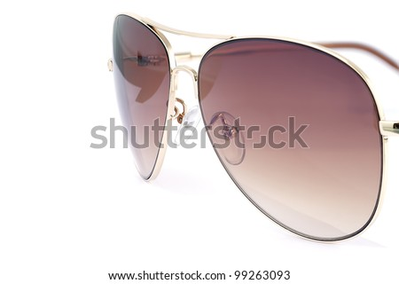 Side view of aviator woman sun glasses isolated on white background.