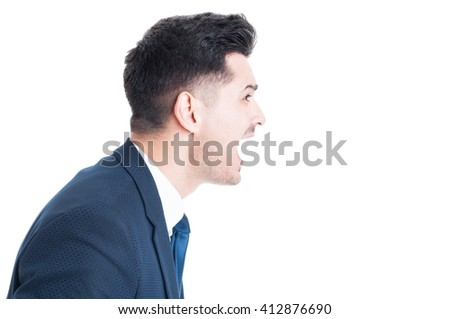 Side view of banker boss or  manager yelling and shouting isolated on white copy space background with text and advertising area