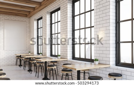 Side View Of Bar Interior With Windows, Stools And Square Tables. Vertical  Poster On
