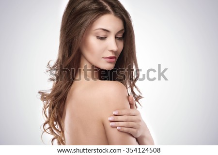 Side view of beautiful natural woman  - stock photo