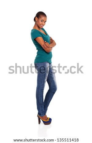 side view of beautiful young african woman on white - stock photo