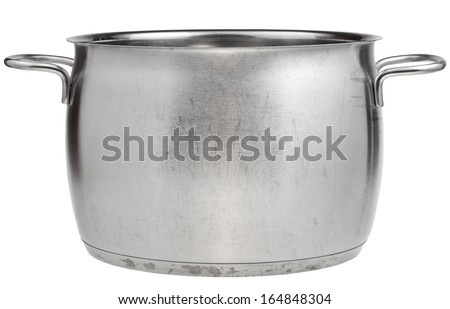side view of big stainless steel saucepan isolated on white background - stock photo