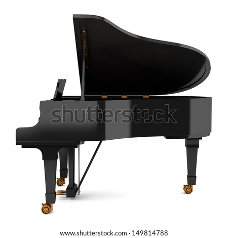side view of black grand piano isolated on white background - stock photo