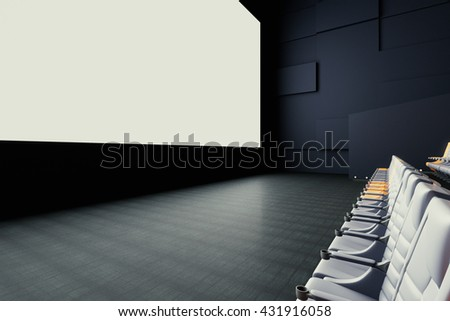 Side view of blank white cinema screen and seats. Mock up, 3D Rendering