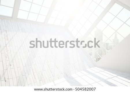 Side view of blank white wooden wall in loft interior with windowsm city view and sunlight. Mock up, 3D Rendering