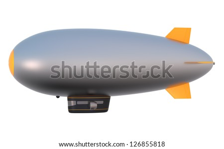 side view of blimp with blank  copy space - stock photo