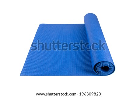Side view of blue rolled yoga, pilates or fitness mat for exercise, isolated on white background. - stock photo