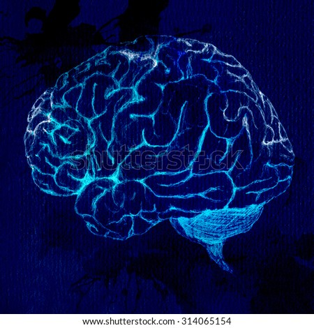 Side view of brain sketch on black background. Glowing appearance. - stock photo