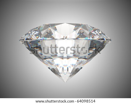 Side view of brilliant cut diamond. Over grey background - stock photo