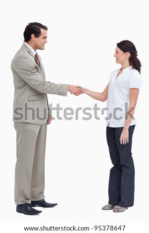 Side view of business people shaking hands against a white background - stock photo