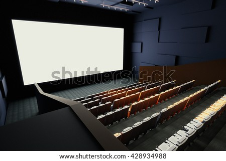 Side view of cinema hall interior with rows of seats, patterned walls, ceiling with lamps and blank white screen. Mock up, 3D Rendering