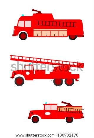 Side view of colorful retro silhouette fire engines on a white background. With place for any text. - stock photo