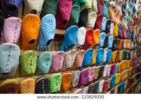 Side view of colourful Moroccan slippers, Marrakesh - stock photo