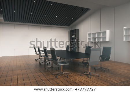 Side view of conference table in office interior with wooden floor, concrete wall, bookshelves and other equipment. 3D Rendering