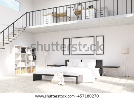 Side View Creative Concrete Hipster Interior Stock Illustration ...