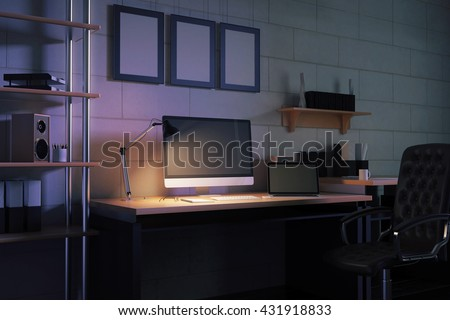 Side view of creative designer desktop with blank computer monitor, laptop, loudspeaker, coffee cup and other items on brick wall background with three picture frames at night. Mock up, 3D Rendering
