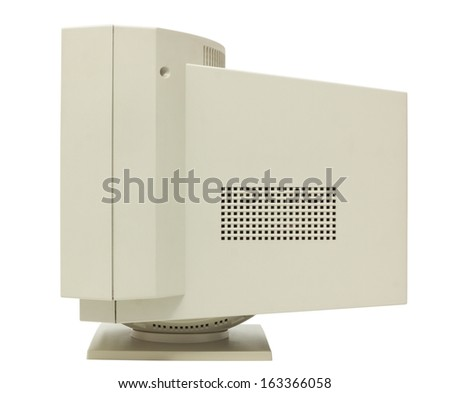 Side view of CRT monitor isolated on white with clipping path - stock photo