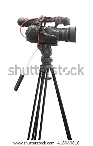 Side view of Digital video camcorder for use Television Professional studio isolated on white background with clipping path - stock photo