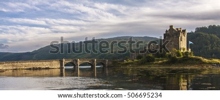Side view of Eilean Donan castle