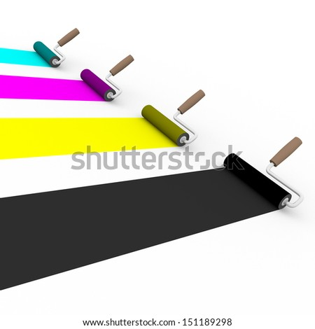 side view of four paint rollers with cmyk colors. Graphic arts and prepress concept - stock photo