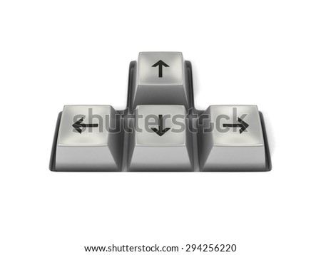 Side view of four white keyboard arrow keys isolated on white background. 3D illustration - stock photo