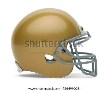 Side View of Gold Football Helmet with Copy Space Isolated on White Background. - stock photo