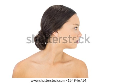Side view of gorgeous brunette against white background
