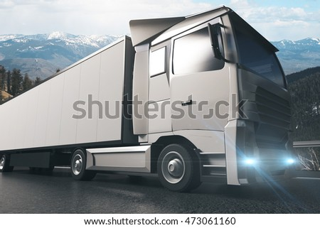 Side view of grey truck with empty trailer on landscape background. Mock up, 3D Rendering