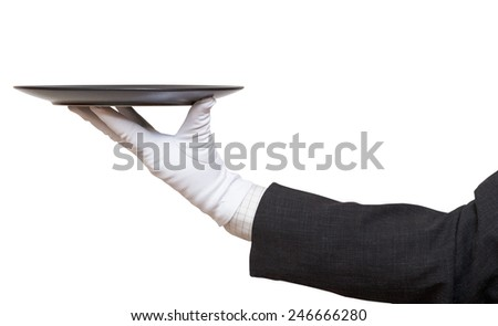 side view of hand in white glove with empty flat black plate isolated on white background - stock photo