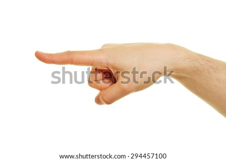 Side view of hand with pointing index finger isolated on white background