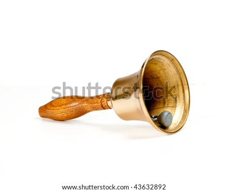 Side view of handbell isolated against white - stock photo