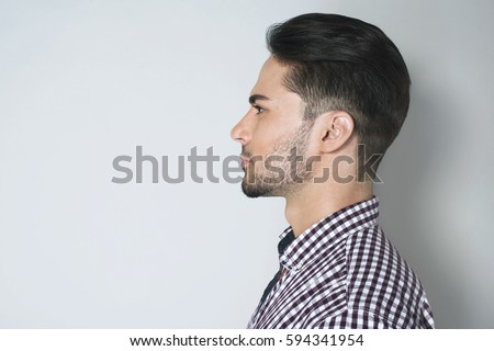 side view handsome young man beautiful stock photo. Black Bedroom Furniture Sets. Home Design Ideas