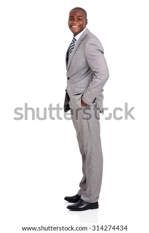 side view of happy african american business man on white background