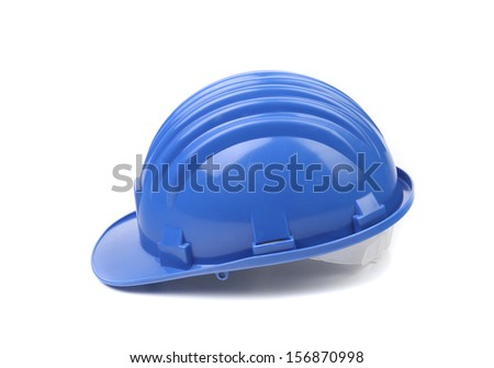 Side view of hard hat. Isolated on a white background. - stock photo