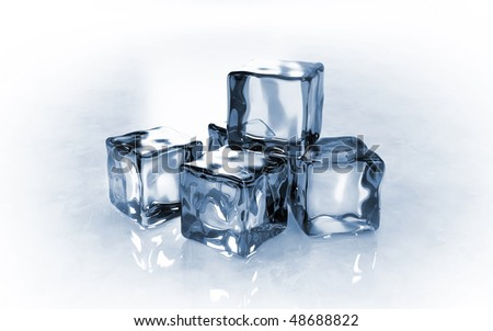 Side view of ice cubes