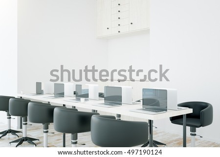 Side view of interior with long table, chairs, laptop computers and cupboard. 3D Rendering