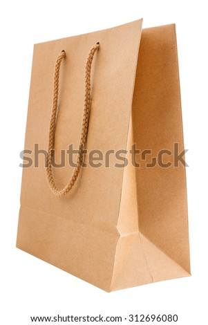 Side view of kraft paper bag with handle isolated on white background - stock photo