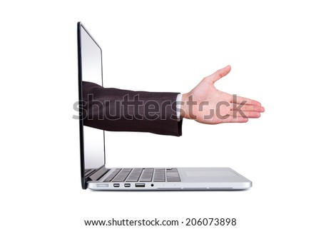 Side view of laptop and hand coming out from blank screen for hand shake, approve or celebrate, isolated on white background. - stock photo